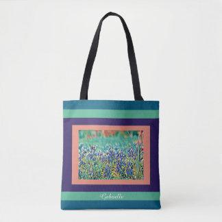 FIeld of bluebonnets, purple, salmon, aqua; w name Tote Bag