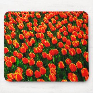 Field of Bright Orange Tulips - Watercolor Art Mouse Pad