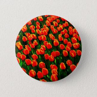 Field of Bright Orange Tulips - Watercolor Art Pinback Button