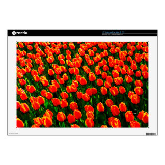 Field of Bright Orange Tulips - Watercolor Art Skin For Laptop