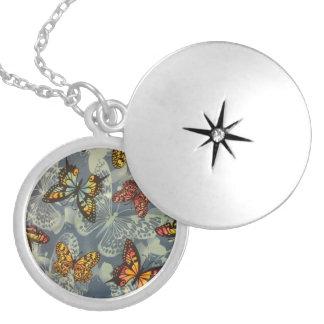 Field of Butterflies Round Locket Necklace