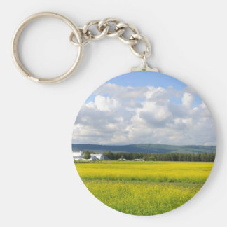 Field of Canola at Historic Alaska Farm Basic Round Button Keychain