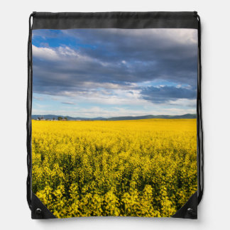 Field Of Canola In Late Evening Light Drawstring Bag