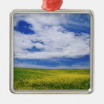 Field of Canola or Mustard flowers, Palouse Metal Ornament