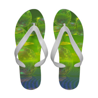Field of Clarity, Abstract Yellow Green Ocean Sandals