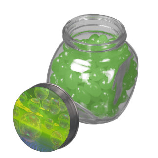 Field of Clarity, Abstract Yellow Green Ocean Glass Candy Jar