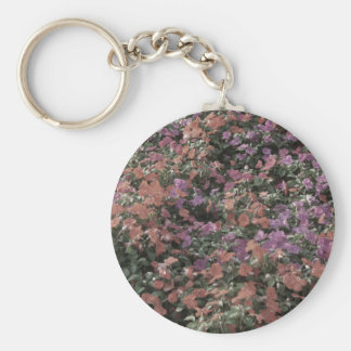 field of colored flowers faded plant photo keychains