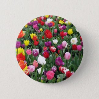 Field of Colorful Tulips Button