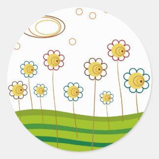 field of daisies classic round sticker