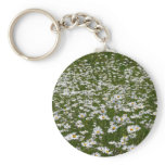 Field of Daisies Nature Photo Keychain
