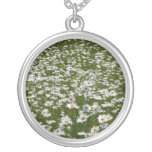 Field of Daisies Nature Photo Silver Plated Necklace