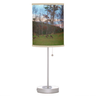 Field of Deer & a Pink SunSet Table Lamp