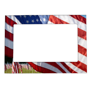 Field of Flags 1 patriotic magnetic picture frame