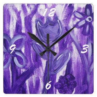 Field of Flowers in Purple Wallclocks