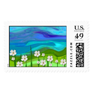 Field Of Flowers Postage Stamp