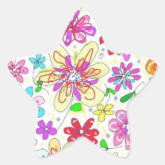 field of flowers star sticker