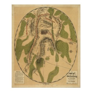 Field of Gettysburg, July 1st, 2nd & 3rd, 1863 Print