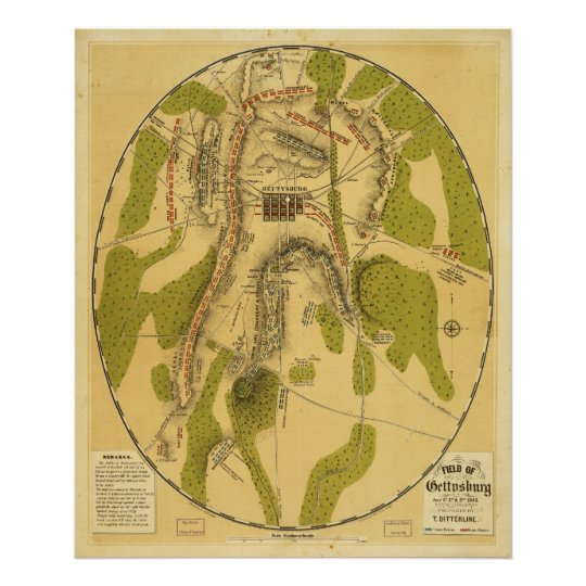 Field of Gettysburg July 1st 2nd & 3rd 1863 Poster