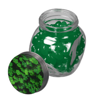 Field Of Green Shamrock Clover Glass Jar