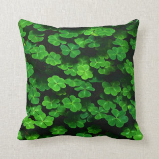 Field Of Green Shamrock Clover Throw Pillow