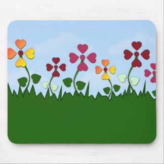 Field of Heart Flowers Mousepad