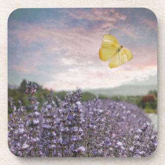 Field of Lavender Flowers, Blue Sky, Pink Sunset, Beverage Coaster