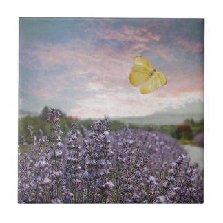 Field of Lavender Flowers, Blue Sky, Pink Sunset, Small Square Tile