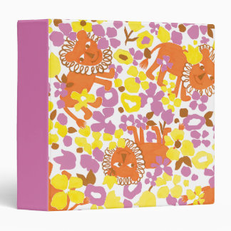 Field of Lions and Flowers 3 Ring Binder