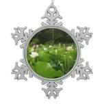 Field of Lotus Flowers Snowflake Pewter Christmas Ornament