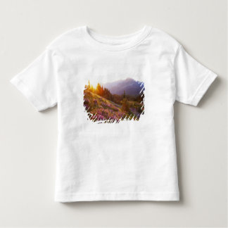 Field of lupine and Olympic Mountains at T-shirt