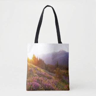 Field of lupine and Olympic Mountains at Tote Bag