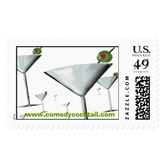 FIELD OF MARTINI GLASSES--comedy cocktail Stamp