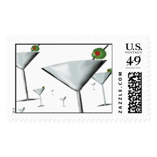FIELD OF MARTINI GLASSES POSTAGE