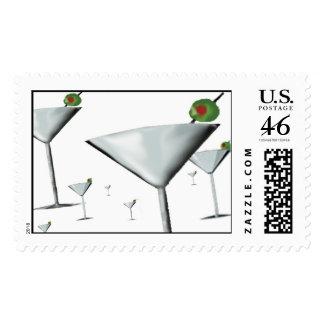 FIELD OF MARTINI GLASSES POSTAGE