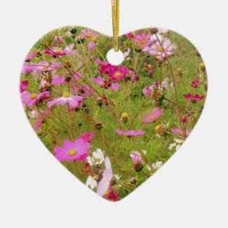 Field Of Pink Flowers Ceramic Ornament