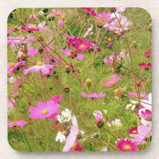 Field Of Pink Flowers Beverage Coaster