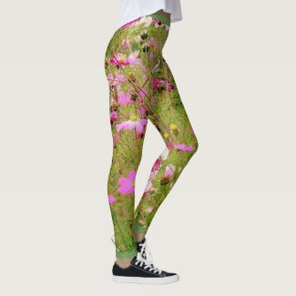 Field Of Pink Flowers Leggings