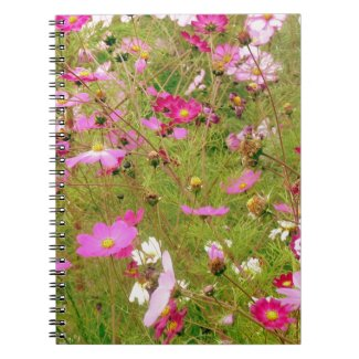 Field Of Pink Flowers Notebook