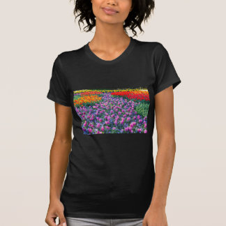 Field of pink hyacinths and red tulips T-Shirt