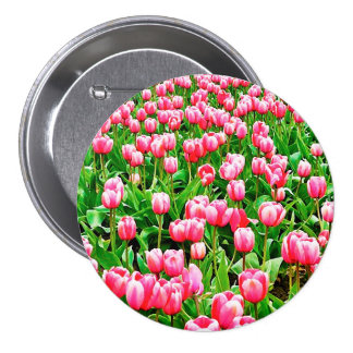 Field of Pink Tulips Button