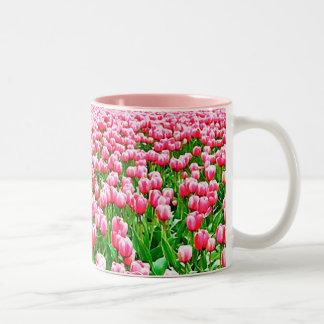 Field of Pink Tulips Two-Tone Coffee Mug