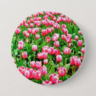 Field of Pink Tulips Pinback Button