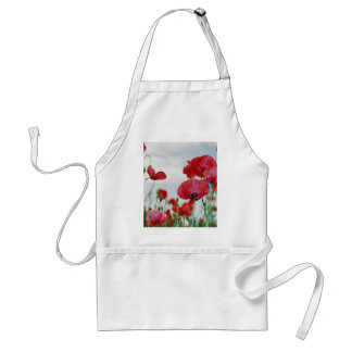 Field of Poppies Against Grey Sky Adult Apron