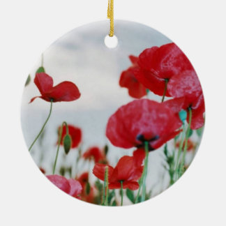 Field of Poppies Against Grey Sky Ceramic Ornament