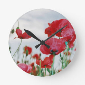 Field of Poppies Against Grey Sky Round Wallclock