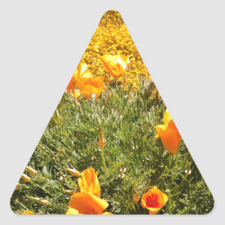Field of Poppies and Wild Mustard Triangle Stickers