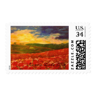 Field of poppies at sunset postage