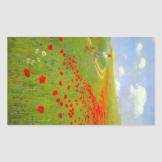 Field of Poppies by Pal Szinyei Merse Rectangular Sticker