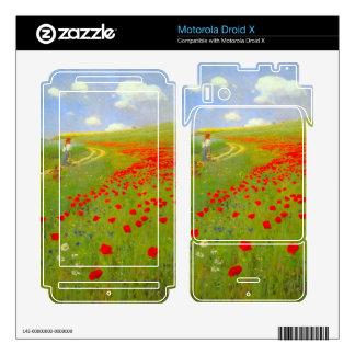 Field of Poppies by Pal Szinyei Merse Motorola Droid X Skins
