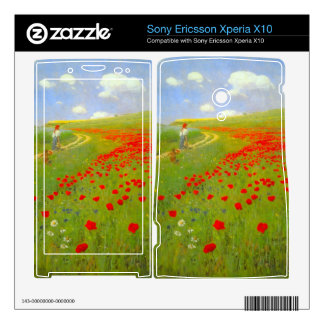 Field of Poppies by Pal Szinyei Merse Xperia X10 Mini Pro Skins